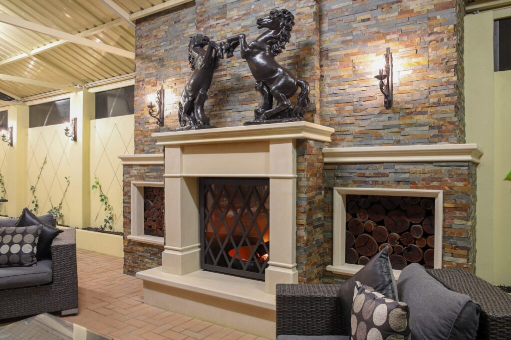 Rock rustic fireplace