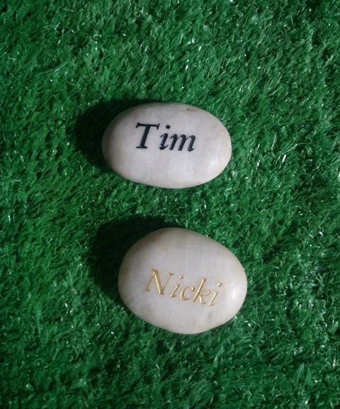 Engraved name on riverstone