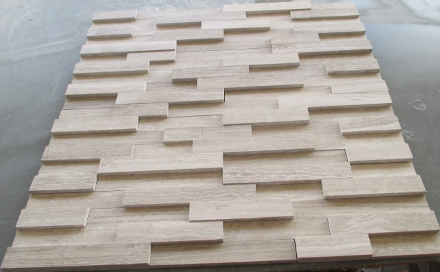 White woodgrain marble cladding